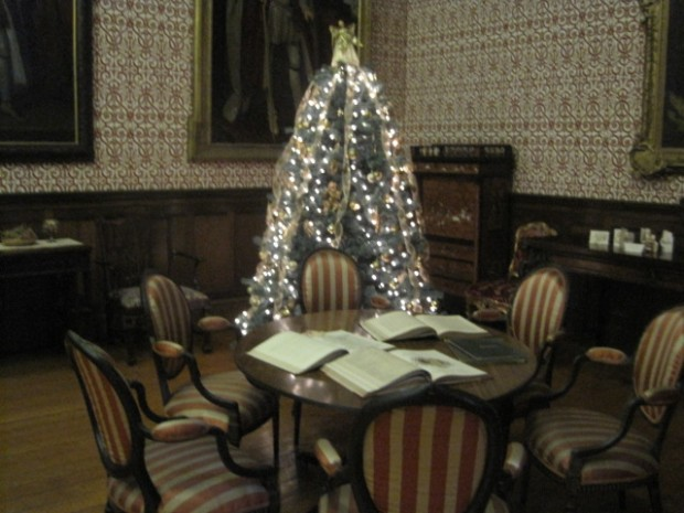 Salon, table and tree