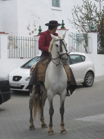 A handsome caballero on his white stead