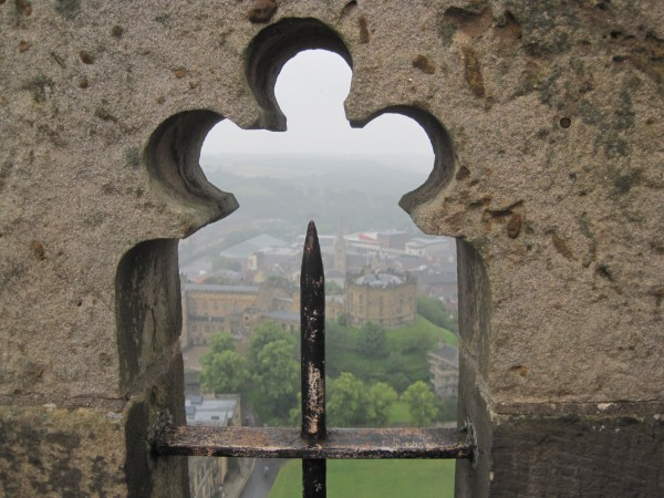 A rainy day on Durham Cathedral roof looking down on the Castle