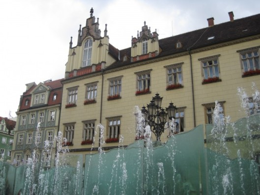 Water feature in the Rynek (market square), Wroclaw