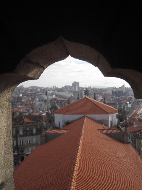 Clerigo tower window, framing Porto