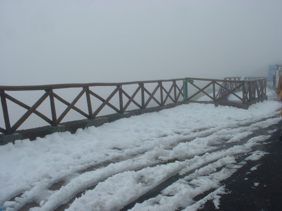 Snow not so frequently, but visibility was limited and our coach had to turn back