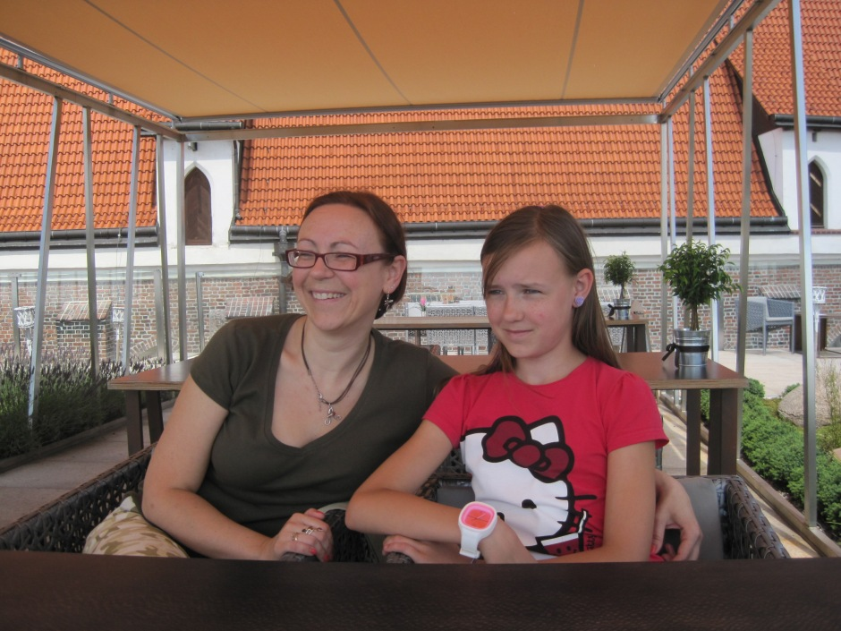 Agnieszka and youngest daughter, Kasia, on Hotel Monopol's rooftop terrace