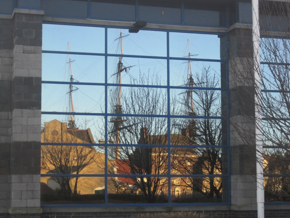 The Museum of Hartlepool, reflected in the Mecca bingo hall