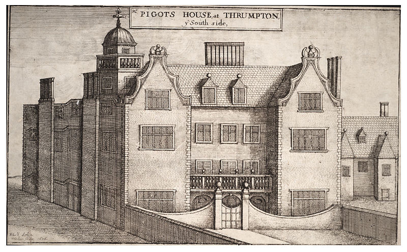 An engraving of Thrumpton Hall by Wencelas Hollar in the 1600s