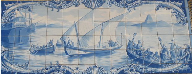 Azulejo tile representation of the sailing to Brazil (from Wikipedia)