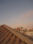 Sunrise on my roof terrace, the moon still in the sky