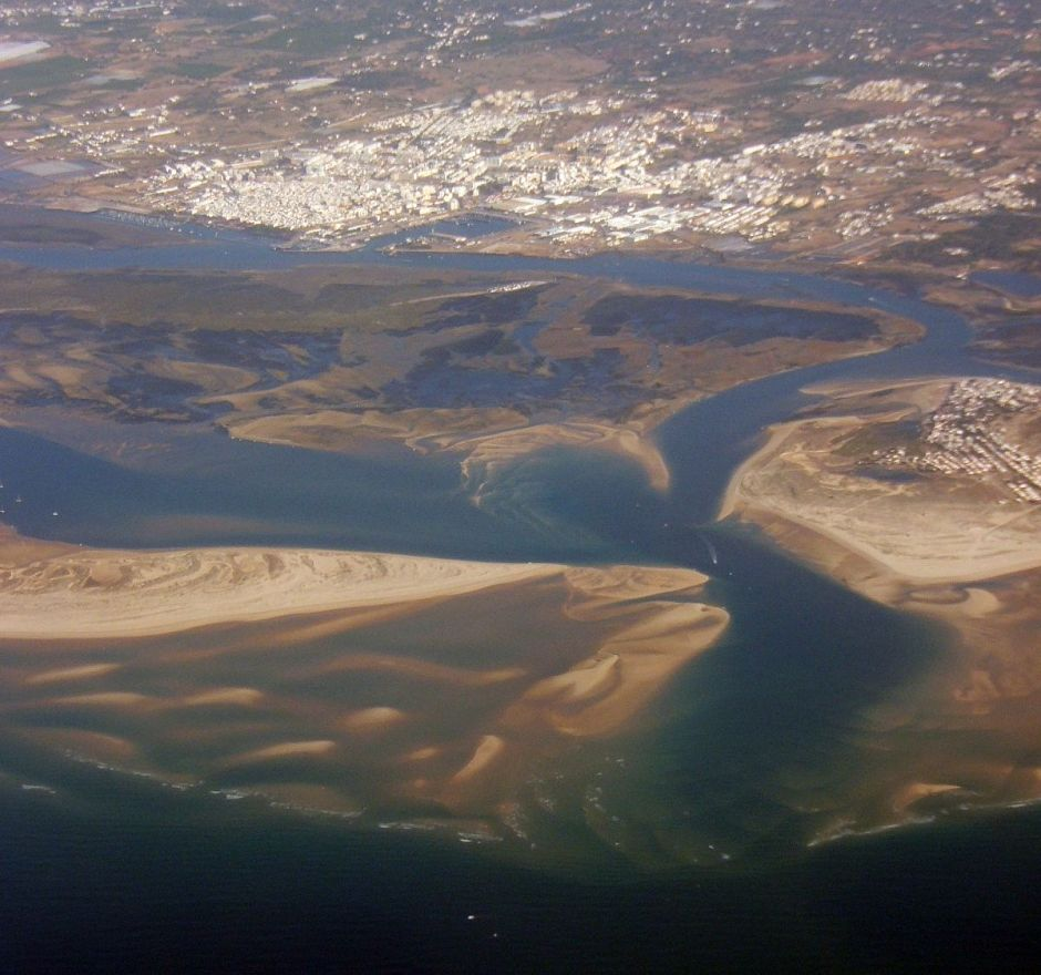 An aerial view of Olhão and the lagoons of the Ria Formosa (from Wikipedia)