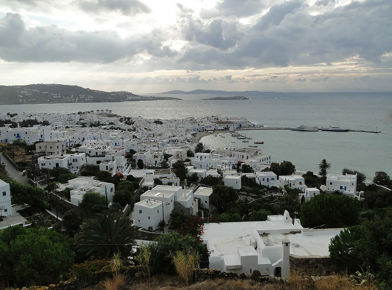 Looking down on Mykonos- courtesy of Wikipedia