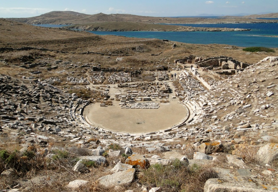 Remnants of the Greek theatre, Delos- courtesy of Wikipedia