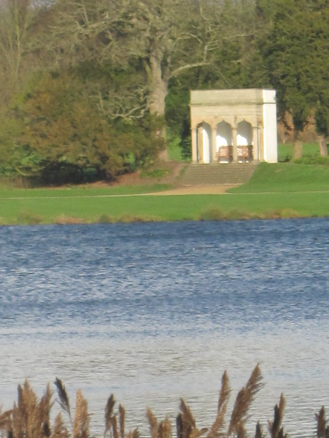 Some of the follies provide shelter with your view across the lake