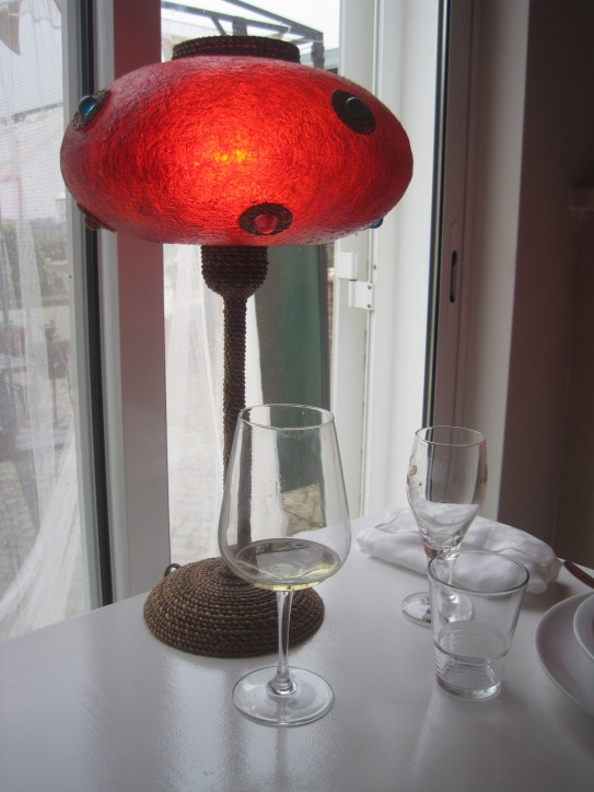 A warm glow from the table lamp