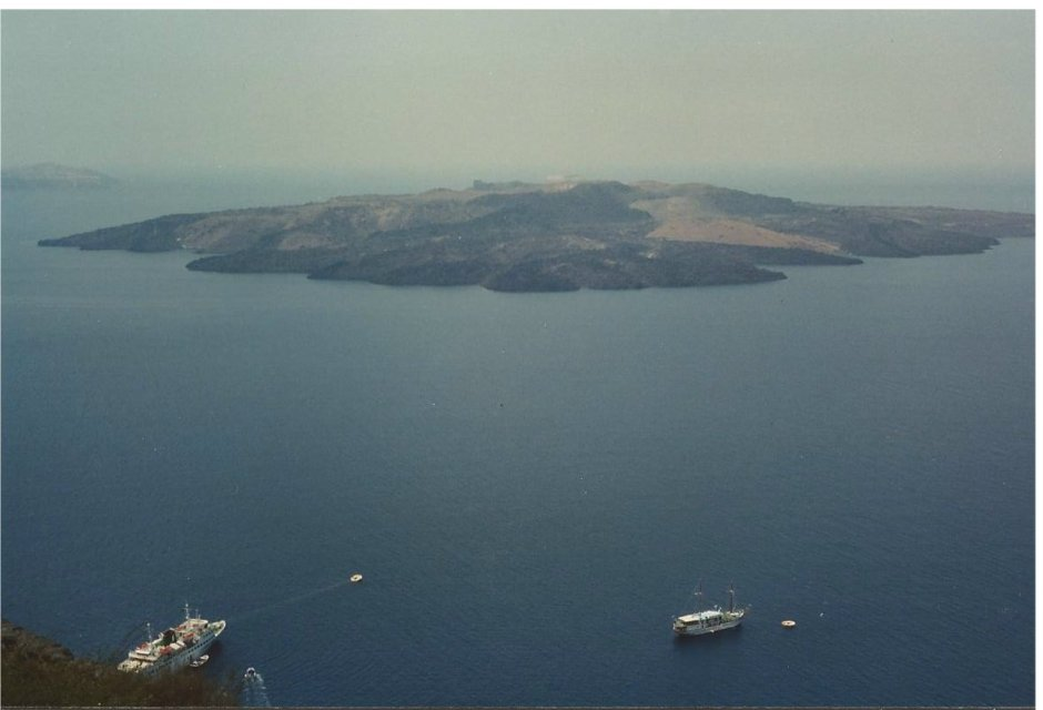 Looking down from Santorini