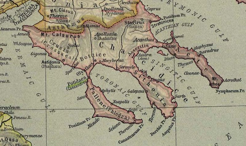 Map of ancient Chalkidiki, from Wikipedia
