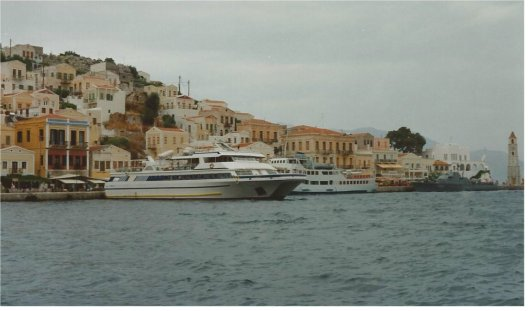 The ferry landing on Symi