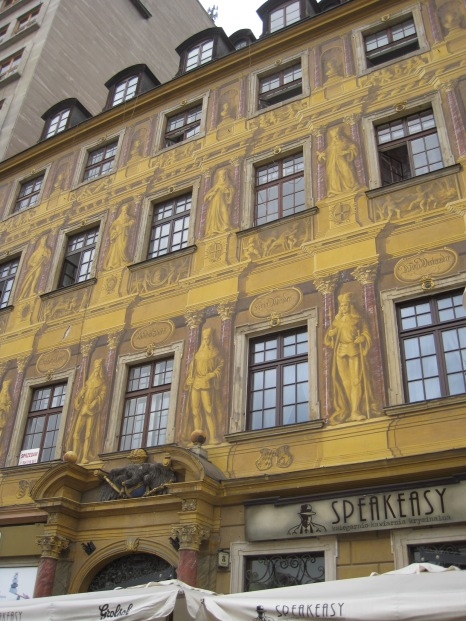 Old gold gently washes medieval architecture in Wroclaw