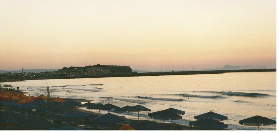 Rethymnon beach at sundown.