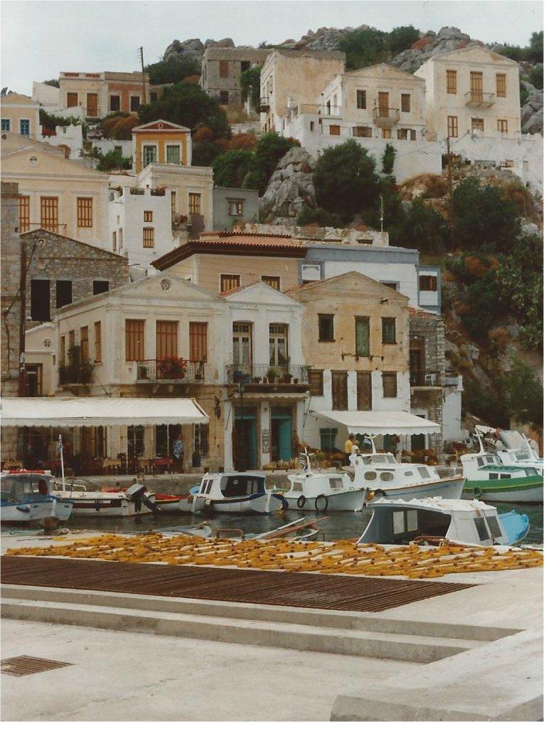 The pastel harbour of Symi