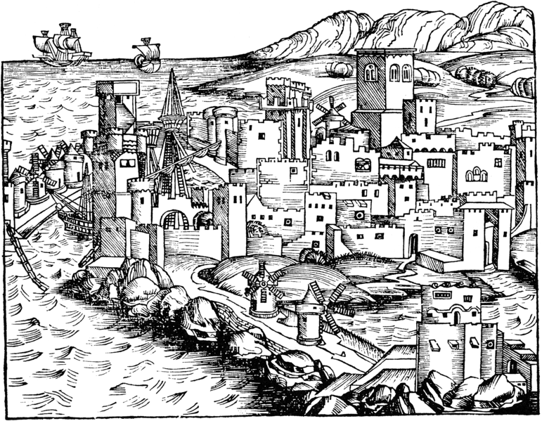 Woodcut of Rhodes  from the Nuremburg Chronicles 1493- also Wikipedia