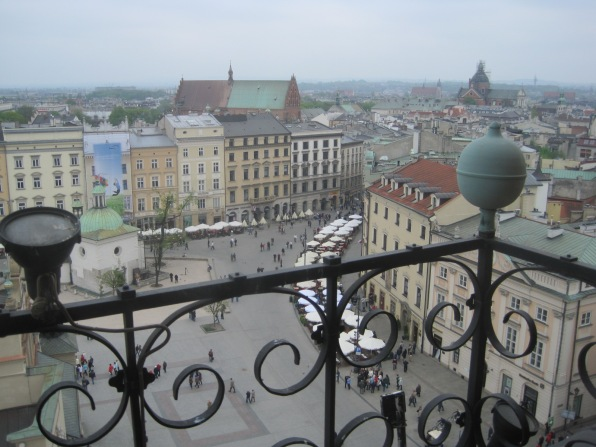 The view from the Ratusz (town hall) in Krakow's Rynek Glowny
