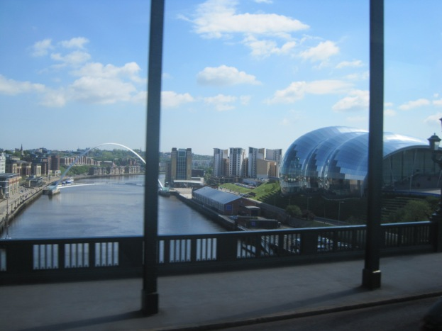 Crossing the Tyne Bridge, The Eye and The Sage Theatre are clearly visible