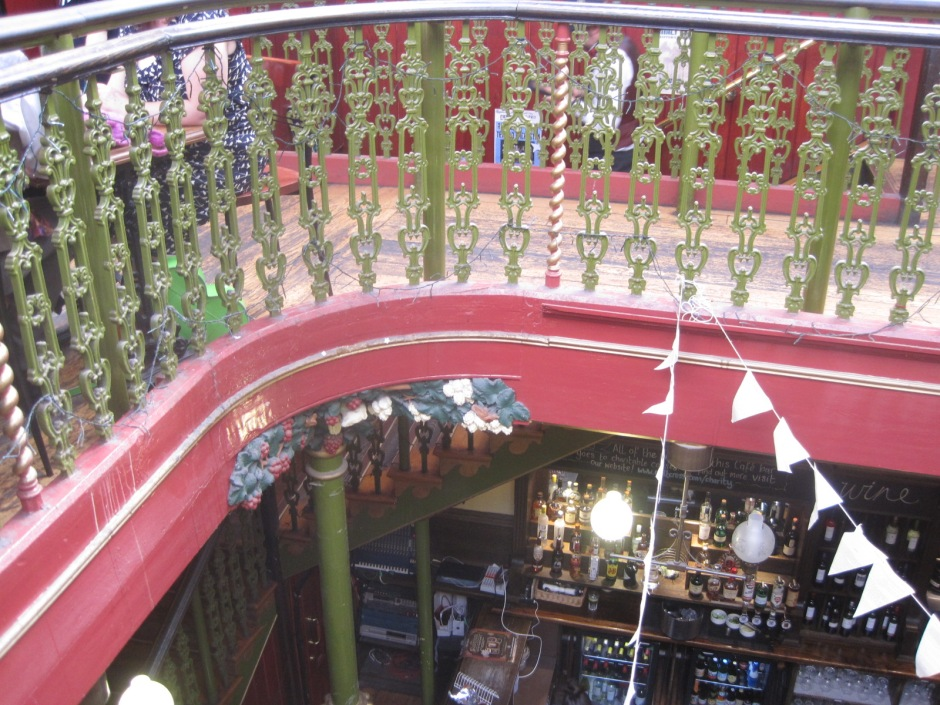 The balcony in the Malt Cross Cafe