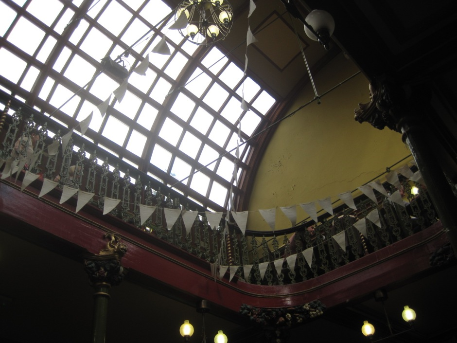 The glass-panelled arched ceiling of Malt Cross Cafe in Nottingham