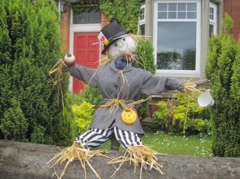 With a more traditional scarecrow