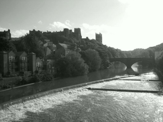 Milburngate Bridge with castle and cathedral above.