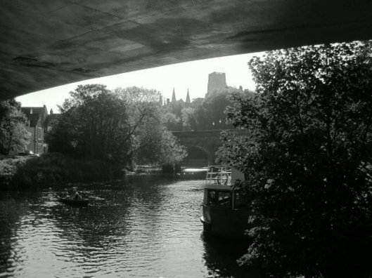 Under the road bridge, looking back at the Cathedral.