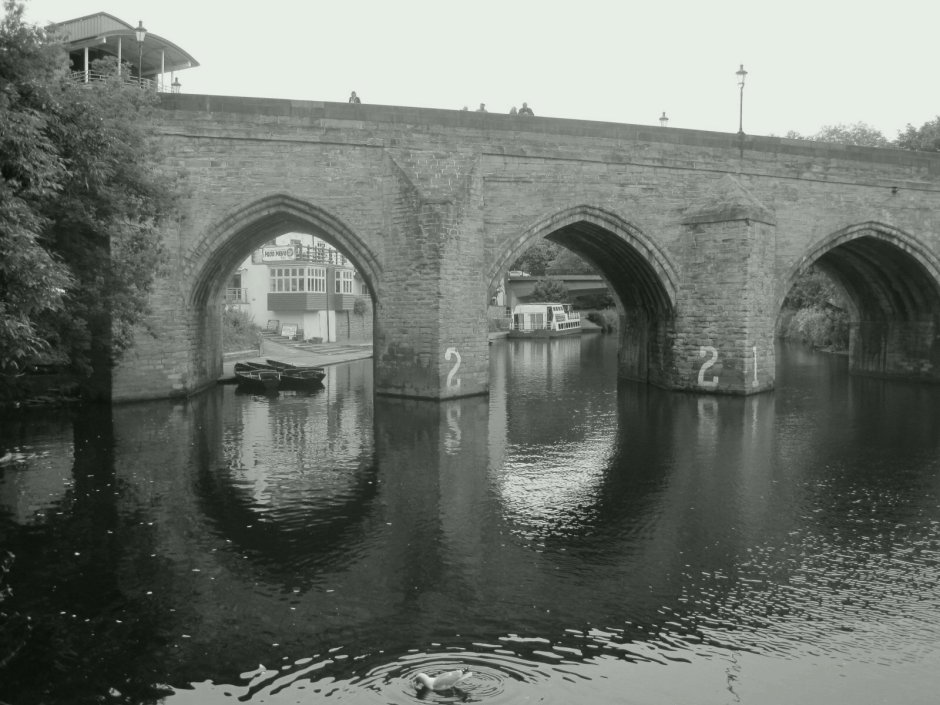 There are always rowing boats tethered by Framwellgate Bridge.