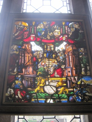 The stained glass window in the castle chapel.