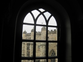 Looking out into the castle courtyard.