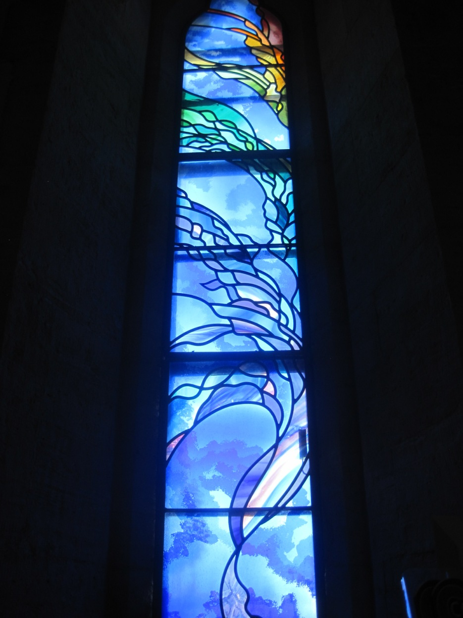 A new, and modern, stained glass panel.
