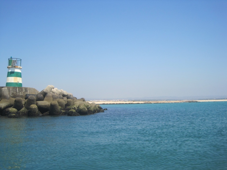 Then we headed down the channel to the sea, to look back at Tavira Island