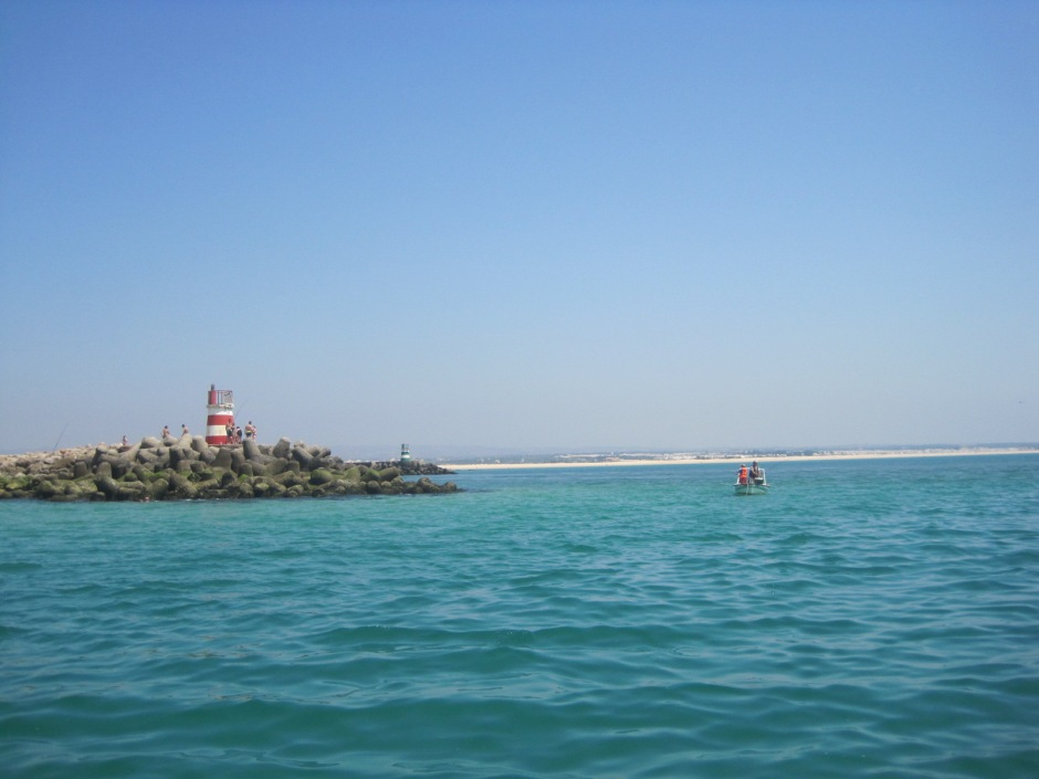 Then back to shore, past the twin lighthouses