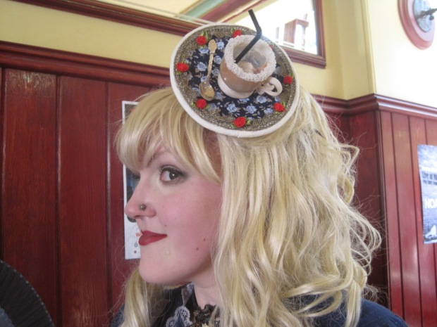 Lisa in the teacup fascinator she made.
