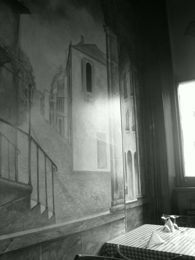 Trompe l'oeuil windows in a favourite Durham restaurant
