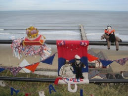 A look back at last year's Jubilee yarn bombing, on the promenade above the pier.