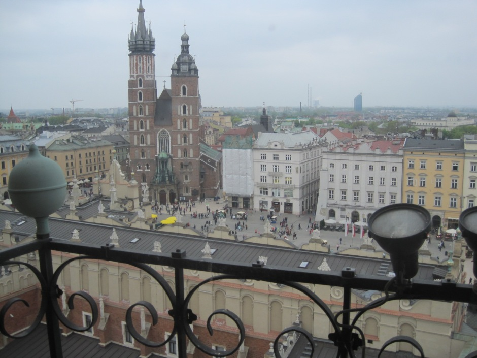 Mariacki Church seen from the tower of Ratusz, the town hall.