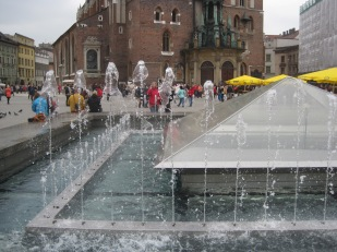 The fountains in front of the church