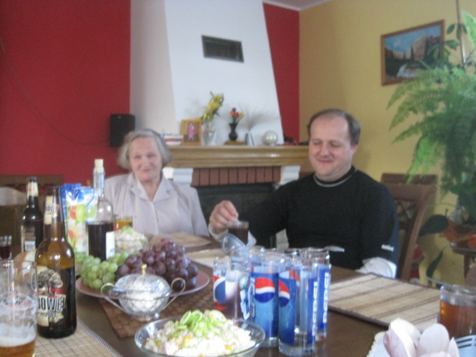 A slightly blurred photo of Lodzia and Bolek at Jadwiga's home