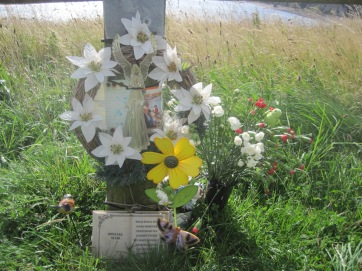 Sometimes there are tributes to a loved one along the way.
