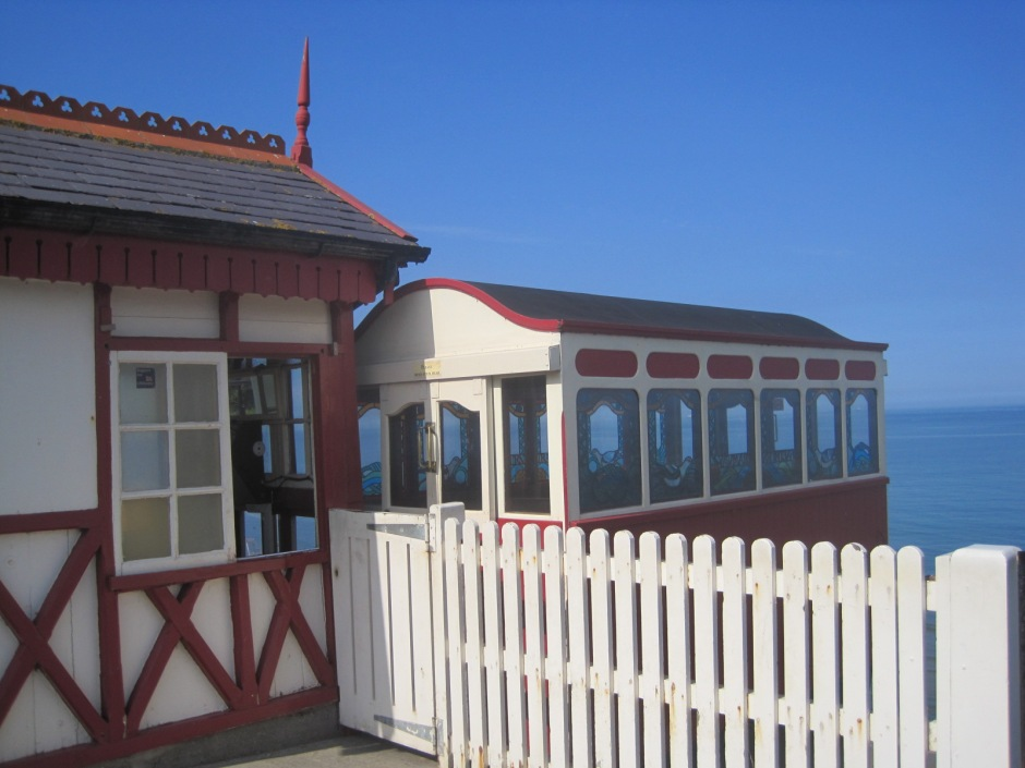 Saltburn cliff lift with its stained glass windows