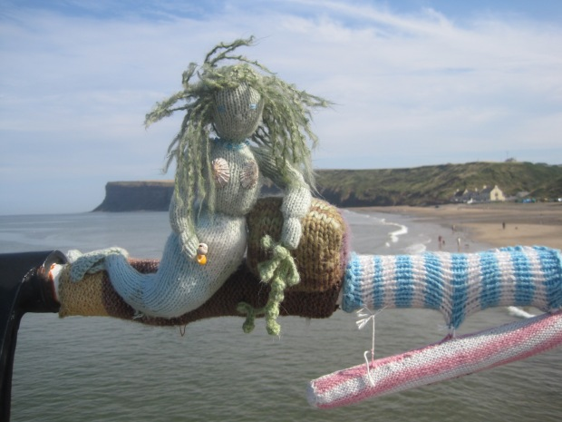 Knitted mermaid on the pier at Saltburn-by-the-Sea