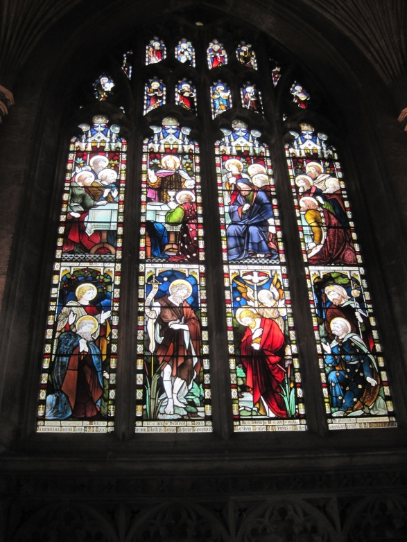 The jewel red in a stained glass window always leaps out at me.