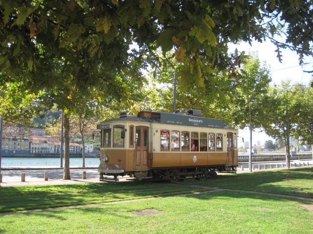 The tram trundles past Foz do Douro
