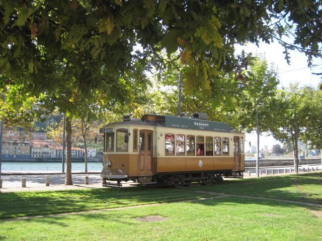 The tram trundles past Foz do Douro