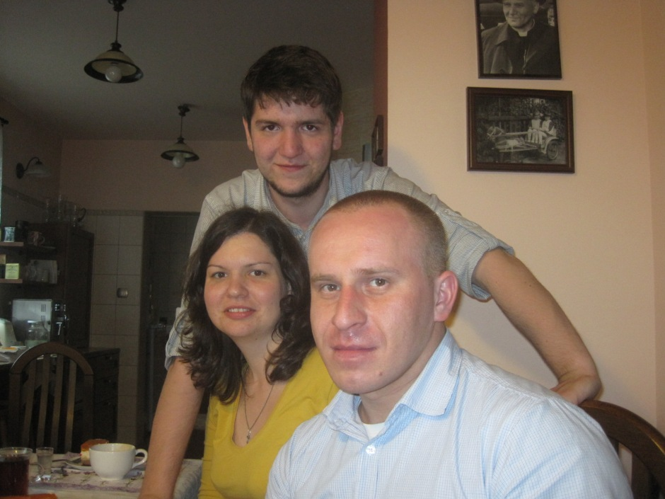 Nephew Lukasz with his sister Weronika, soon to be wedded to Wojtek (front)