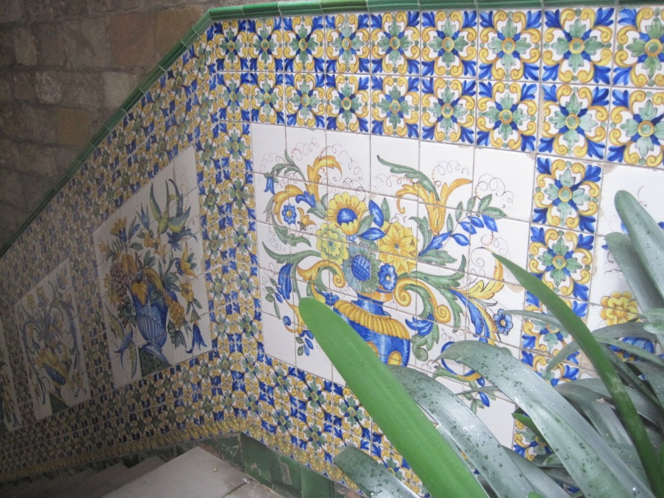 Tiles inside the Casa de l'Arcadia's courtyard